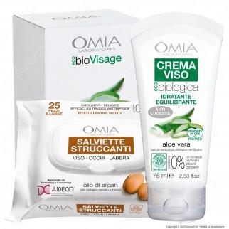 Omia Trattamento Viso EcoBio Visage Essential Idratante e Purificante all'Aloe Vera e Olio di Argan - Confezione da 2pz.