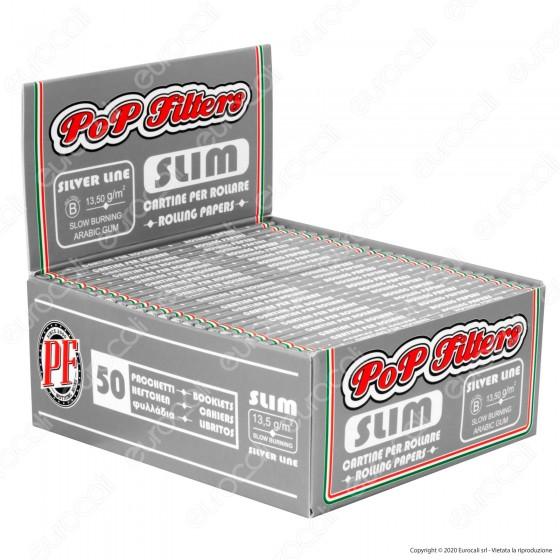 PROV-A00282001 - Cartine Pop Filters King Size Slim Italia Silver Line Lunghe - Scatola da 50 Libretti
