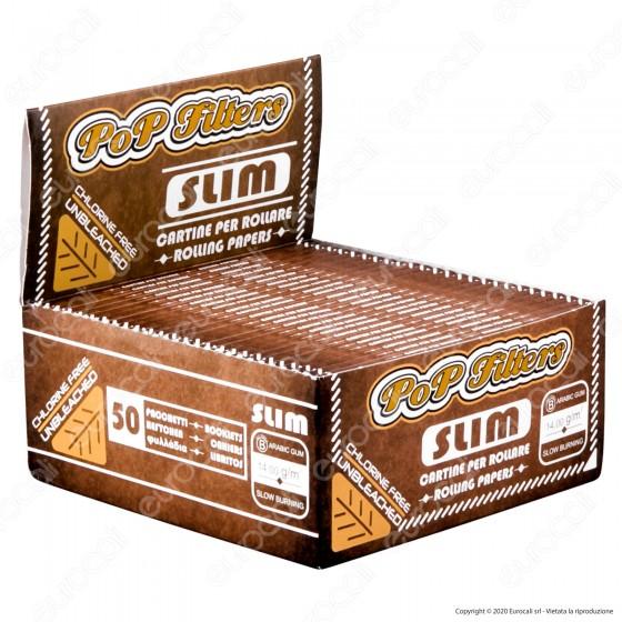 PROV-A00284001 - Cartine Pop Filters King Size Slim Unbleached non Sbiancate - Scatola da 50 Libretti