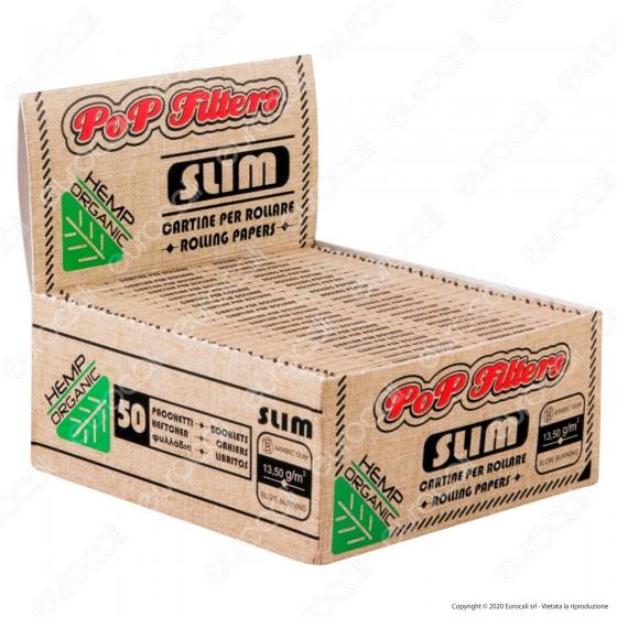 PROV-A00283001 - Cartine Pop Filters King Size Slim Organic Hemp - Scatola da 50 Libretti