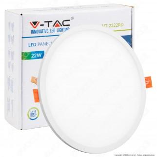 V-Tac VT-2222 RD Pannello LED Rotondo 22W SMD da Incasso con Driver - SKU 4937 / 4938 / 4939