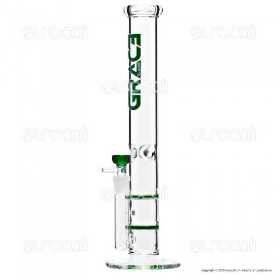 Bong Grace Glass Green Cane G1634G in Vetro Lavorato - Altezza 45 cm