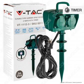 V-Tac VT-1112-3 Multipresa IP44 2 Posti con Prese Schuko da Giardino con Timer e Picchetto da Terra Cavo 3 Metri - SKU 8811