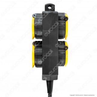 V-Tac VT-1124-3 Multipresa IP44 4 Posti con Prese Schuko da Giardino e Cavo 3 Metri - SKU 8814