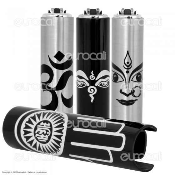 Clipper Metal Case Micro in Metallo Fantasia Yoga - 1 Accendino