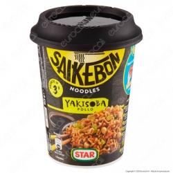 Star Saikebon Noodles Yakisoba al Gusto di Pollo e Verdure Pronti in 3 Minuti - Cup da 93g.