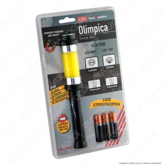 CFG Olimpica Torcia LED COB 360° Luce Stroboscopica con Magnete alla base in Alluminio