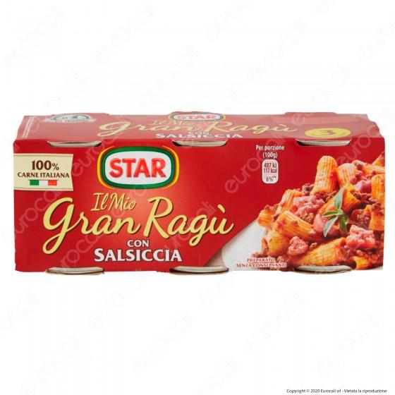 Star Il Mio Gran Ragù con Salsiccia Sugo Pronto con Pomodoro e Carne Suina Italiana - 3 Lattine da 100g