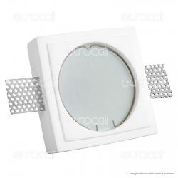 Portafaretto Quadrato da Incasso in Gesso e Vetro per Lampadine GU10 e GU5.3 - ART56