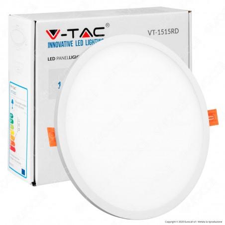 V-Tac VT-1515 RD Pannello LED Rotondo 15W SMD da Incasso con Driver - SKU 4934 / 4935 / 4936