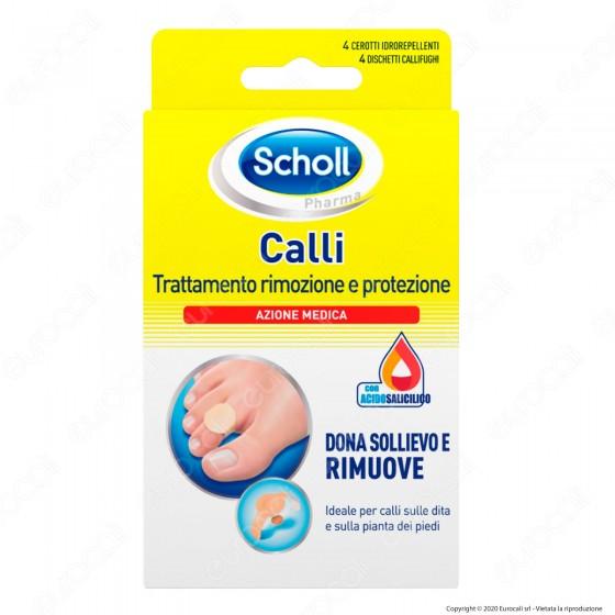 Scholl Trattamento Rimozione e Protezione Calli - Confezione con 4 Cerotti Idrorepellenti e 4 Dischetti Callifughi
