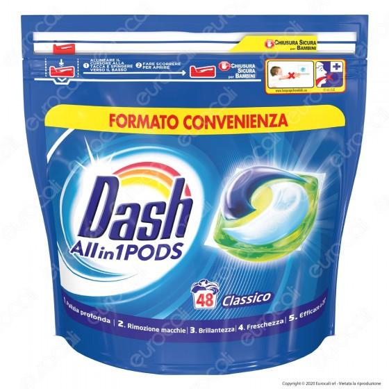 Dash All in 1 Pods Classico Detersivo in Capsule - Confezione da 48 Pastiglie