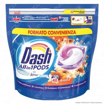 Dash All in 1 Pods all'Ambra Detersivo in Capsule - Confezione da 48 Pastiglie