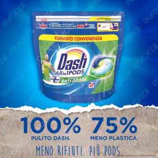 Dash All in 1 Pods Anti Odore Detersivo in Capsule - Confezione da 49 Pastiglie