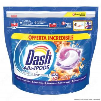 Dash All in 1 Pods all'Ambra Detersivo in Capsule - Confezione da 62 Pastiglie