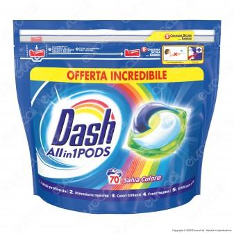 Dash All in 1 Pods Salvacolore Detersivo in Capsule - Confezione da 70 Pastiglie
