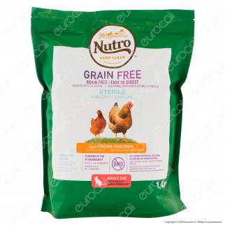 Nutro Grain Free con Pollo Fresco Cibo Secco per Gatti Adulti Sterilizzati - Busta da 1,4Kg