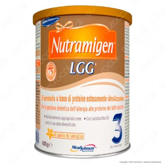 Nutramigen 3 LGG Latte in Polvere per Allergia alle Proteine del Latte per bambini da 1 anno Gusto Vaniglia - Barattolo da 400g