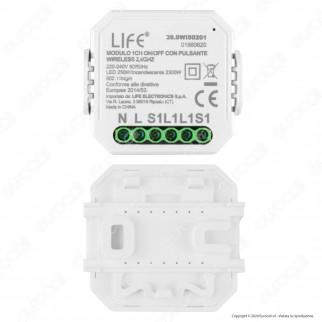 Life Modulo 1CH Ricevitore Interruttore ON/OFF Wi-Fi con Pulsante - mod. 39.9WI50201