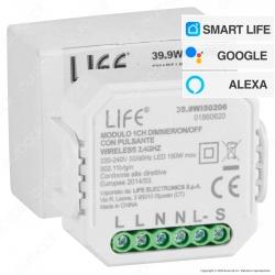 Life Modulo 1CH Ricevitore Interruttore Dimmer/ON/OFF Wi-Fi con Pulsante - mod. 39.9WI50206