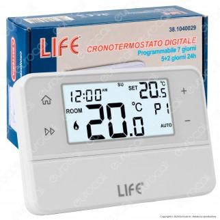 Life Cronotermostato Digitale Programmabile con Display a Batteria- mod. 38.1040029