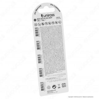Uniross Pile Alcaline a Bottone AG2 / LR726 / G2 / LR59 / 196 / 396 1,5V - Blister da 5 Batterie