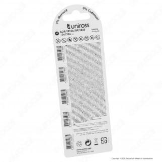 Uniross Pile Alcaline a Bottone AG9 / LR936 / G9 / LR45 / 194 / 394 1,5V - Blister da 5 Batterie