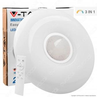 V-Tac VT-8405 Plafoniera LED 3in1 20W / 40W Forma Circolare Effetto Cielo Stellato con Telecomando - SKU 14941