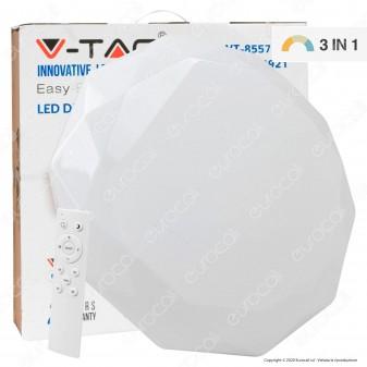 V-Tac VT-8557 Plafoniera LED 60W Forma Circolare Sfaccettata Effetto Cielo Stellato con Telecomando - SKU 14921
