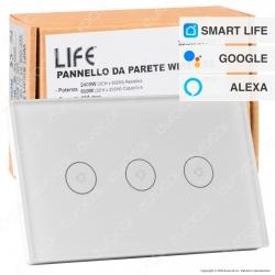 Life Pannello da Parete Smart 3 CH indipendenti Wi-Fi 2,4 GHZ 30 Metri - mod. 39.9WI50303