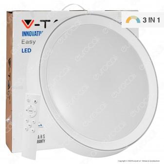 V-Tac VT-8502 Plafoniera LED 3in1 30W / 60 W Forma Circolare con Telecomando - SKU 14751