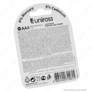 Uniross Pile Alcaline Max Power AAA / LR03 / Ministilo / Micro 1,5V - Blister da 4 Batterie