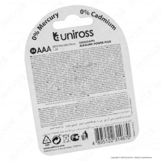 Uniross Pile Alcaline Power Plus AAA / LR03 / Ministilo / Micro 1,5V - Blister da 4 Batterie
