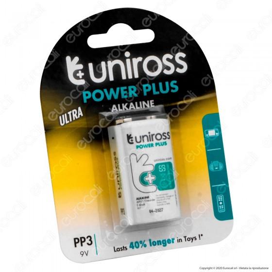 Uniross Pila Alcalina Power Plus PP3 / 6LR61 / Transistor / E-block 9V - Blister da 1 Batteria