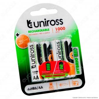 Uniross Pile Ricaricabili Hybrio AA/HR6 Ni-MH 1,2V 900mAh - Blister da 4 Batterie