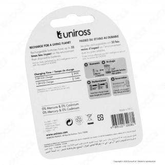 Uniross Pile Ricaricabili Hybrio AAA/HR03 Ni-MH 1,2V 900mAh - Blister da 2 Batterie