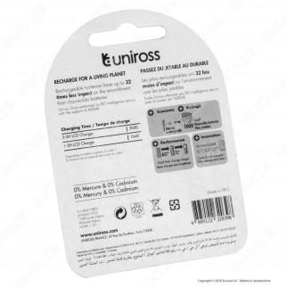 Uniross Pile Ricaricabili Hybrio AAA/HR03 Ni-MH 1,2V 900mAh - Blister da 4 Batterie