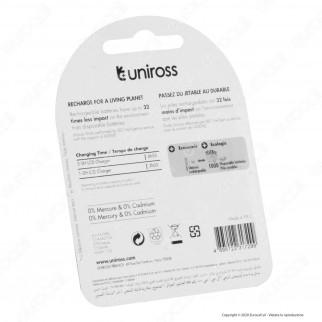 Uniross Pile Ricaricabili Series Premium AA/HR6 Ni-MH 1,2V 2500mAh - Blister da 4 Batterie