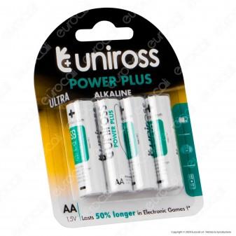 Uniross Pile Alcaline Power Plus AA / LR6 / Stilo / Mignon 1,5V - Blister da 4 Batterie