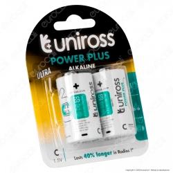Uniross Pile Alcaline Power Plus C / LR14 / MezzaTorcia / Baby 1,5V - Blister da 2 Batterie