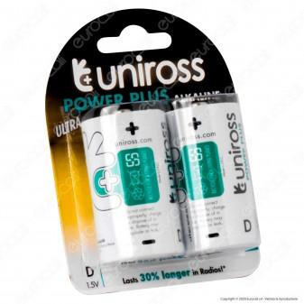 Uniross Pile Alcaline Power Plus D / LR20 / Torcia / Mono 1,5V - Blister da 2 Batterie
