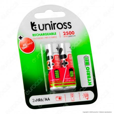 Uniross Pile Ricaricabili Hybrio AA / HR6 Ni-MH 1,2V 2350mAh - Blister da 2 Batterie