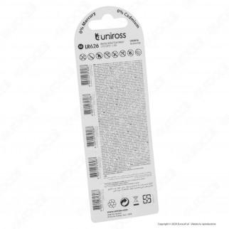 Uniross Pile Alcaline a Bottone LR626 / AG4 / G4 / LR66 / 177 / 377 1,5V - Blister da 5 Batterie