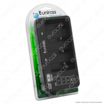 Uniross Caricabatterie Universale AA - AAA - 9V - C - D con Indicatori LED Alimentato da Spina 10A 2P
