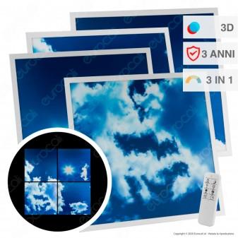 Ener-J 4 Pannelli LED 60x60 40W SMD 3in1 Changing Color Fantasia Cielo Diurno 3D con Driver e Telecomando - mod. E152