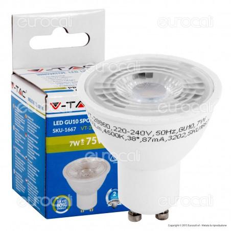 V-Tac VT-2886 D Lampadina LED GU10 7W Faretto Spotlight Dimmerabile 38° - SKU 1666 / 1667 / 1668