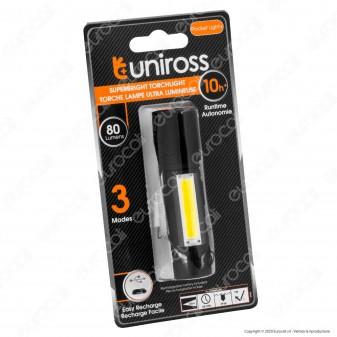 Uniross Torcia 10W in Alluminio IP54 a Batteria 5 Modalità di Illuminazione