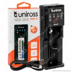 Uniross Caricabatterie Mini 3T AA / AAA / C / SC per Pile NiMH / NiCD Indicatori LED e Funzione Powerbank Alimentato da Cavo USB