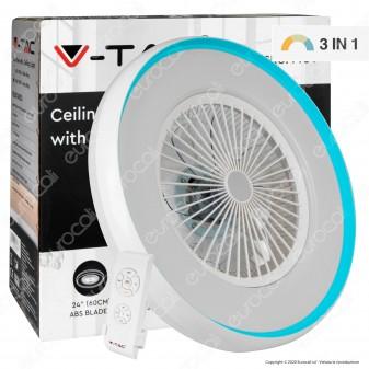 V-Tac VT-5022 Ventilatore da Soffitto Blu Ring 45W con Luce LED 35W e Telecomando - SKU 7935
