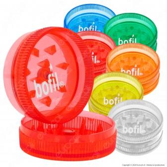 Mini Grinder Tritatabacco Bofil Tiny 2 Parti in Plastica Trasparente